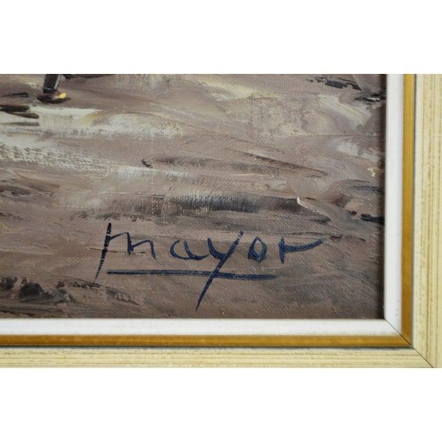 Canvas Framed European Village Scene Oil Painting For Sale - Image 7 of 11