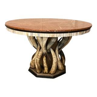 Contemporary Table With Marble Top and Horns Base Signed by Anthony Redmile For Sale