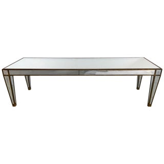 Sleek Glamorous Mirrored Rectangular Coffee Table For Sale