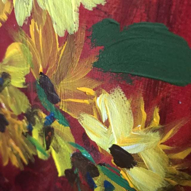 2010s Sunflowers on Red Contemporary Painting For Sale - Image 5 of 9