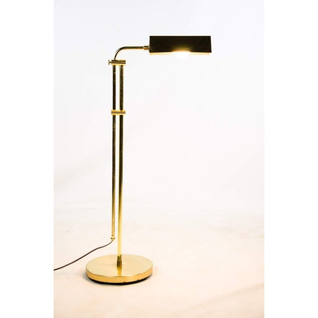 Contemporary Mid Century Modern Style Brass Adjustable Reading Floor Lamp For Sale - Image 3 of 13