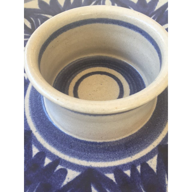 Blue Leaf Painted Stoneware Chip & Dip Serving Dish - Image 4 of 9