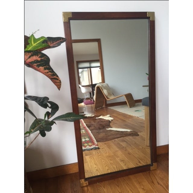 1970s-style Henredon Campaign mirror in perfect condition. Constructed of solid wood, and wired for hanging. Glass is...