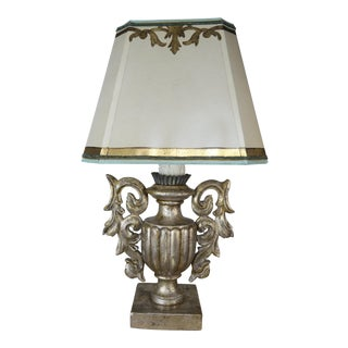 Italian Silvered Wood Urn Lamps W/ Parchment Shade For Sale