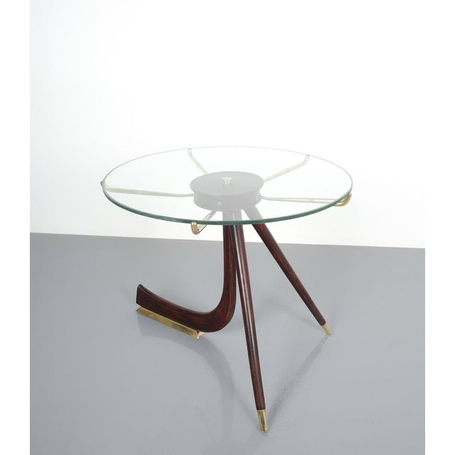 Brevettato Wood Brass Coffee or Side Table, Italy 1955 For Sale - Image 6 of 12
