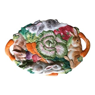 Fitz and Floyd Majolica Bunny Platter For Sale
