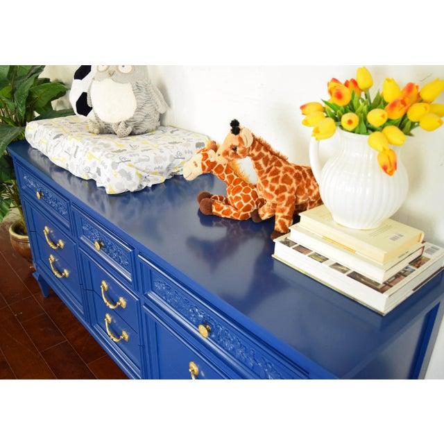 Permacraft Nine Drawer Navy Blue Dresser With Carved Front For Sale - Image 9 of 13