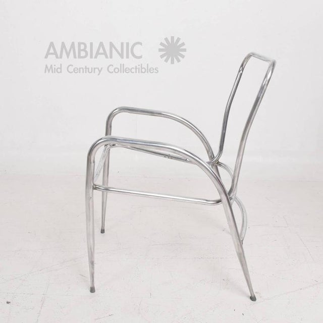 Pair of Sculptural Brown Jordan Aluminum Patio Chairs After Walter Lamb For Sale - Image 10 of 10