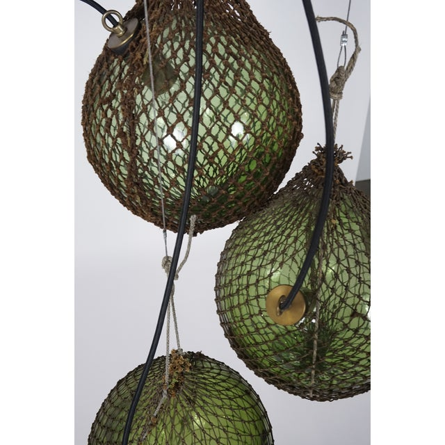 Antique Japanese Green Glass Fishing Floats 3-Light Pendant For Sale - Image 9 of 9