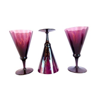 Late 20th Century Amethyst Fluted Crystal Glass Goblets - Set of 3