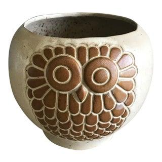 David Stewart Lion's Valley Stoneware Owl Planter For Sale
