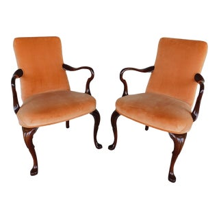 Biggs / Kittinger Queen Anne Mahogany Fireside Arm Chairs - a Pair For Sale