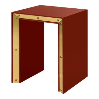 Flair Collection Small Edge Side Table in Cinnabar / Brass For Sale