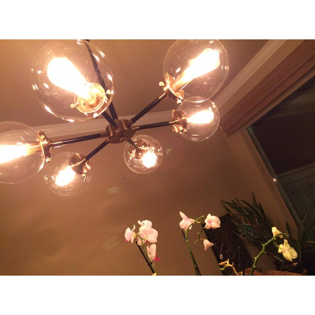 Metal 6 Light Glass Orb Chandelier For Sale - Image 7 of 7