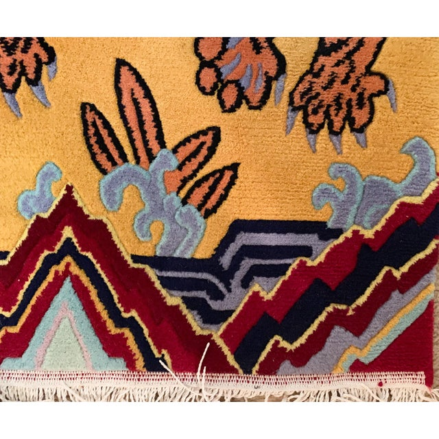 Hand Knotted Indian Wool Tiger Rug, 4' X 6' For Sale - Image 4 of 7