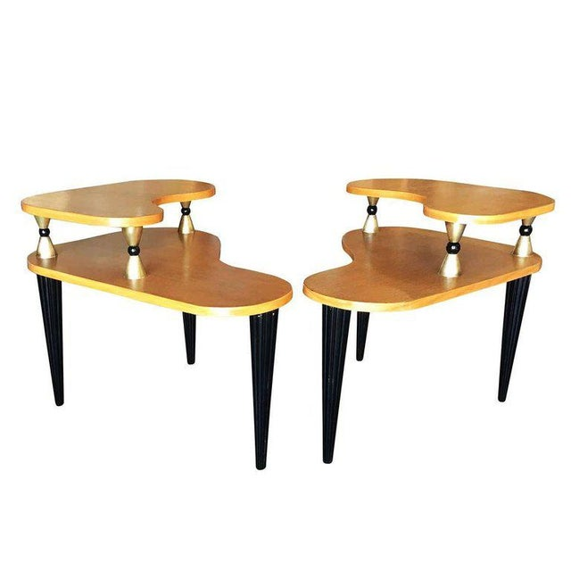 1950s Gilbert Rohde Style Two-Tier Biomorphic Side Table, Pair For Sale - Image 5 of 5