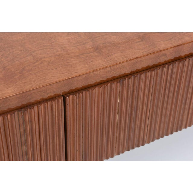 Brown Italian Modern Walnut and Glass Top Two-Tiered Low Table, Paulo Buffa Attributed For Sale - Image 8 of 11