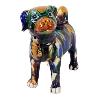 Early 20th Century Antique Multi-Colored Fu Dog Sculpture For Sale