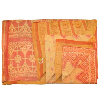 Vintage Orange Kantha Quilt For Sale