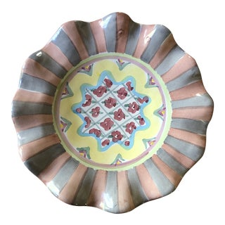 Mackenzie Childs Ruffled Cottage Rose Plate For Sale