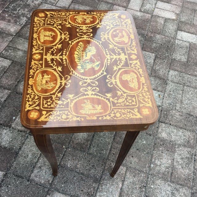 Vintage Italian Inlaid Table Swiss Movement Musical - Image 4 of 5