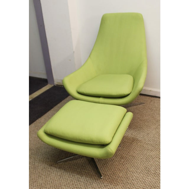 Mid-Century Lime Green Swivel Lounge Chair & Ottoman - Image 5 of 11