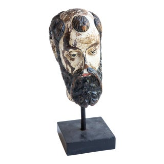 18th Century Indo-Portuguese Wooden Religious Head For Sale