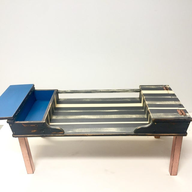 Striped Storage Coffee Table - Image 5 of 9