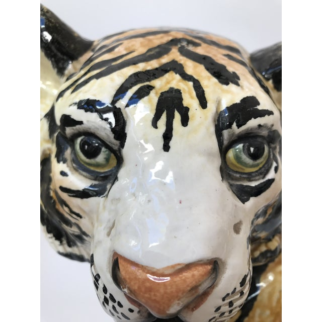 Hand Painted Italian Ceramic Tiger - Image 9 of 9