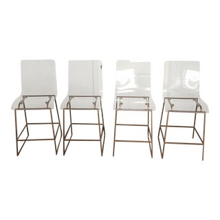 Modern Style Gabby Acrylic King Counter Stools - Set of 4 For Sale