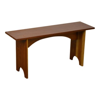 Studio Crafted Solid Cherry Wood Bench For Sale