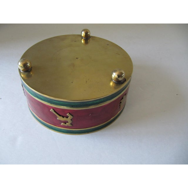 Red & Green Enamel Over Brass Christmas Holiday Wine Coaster For Sale - Image 4 of 6