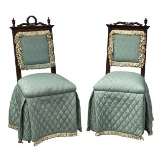 1800s Antique Fortuny Fabric Rosewood Chairs With Brass Hardware - a Pair For Sale