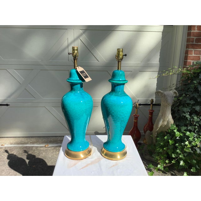 Metal Italian Mid-Century Modern Blue Lamps, a Pair For Sale - Image 7 of 13