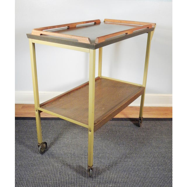 Mid-Century Wood Tray Bar Cart - Image 2 of 5