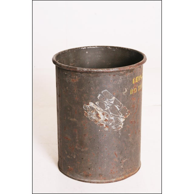 Vintage Industrial Green Metal Military Can - Image 5 of 11