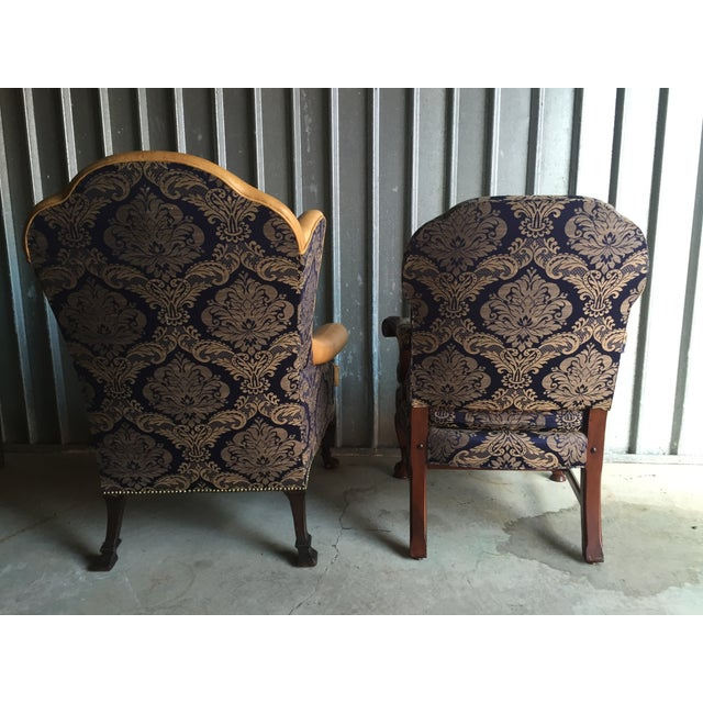Mahogany Library & Wing Chair - Pair - Image 8 of 11