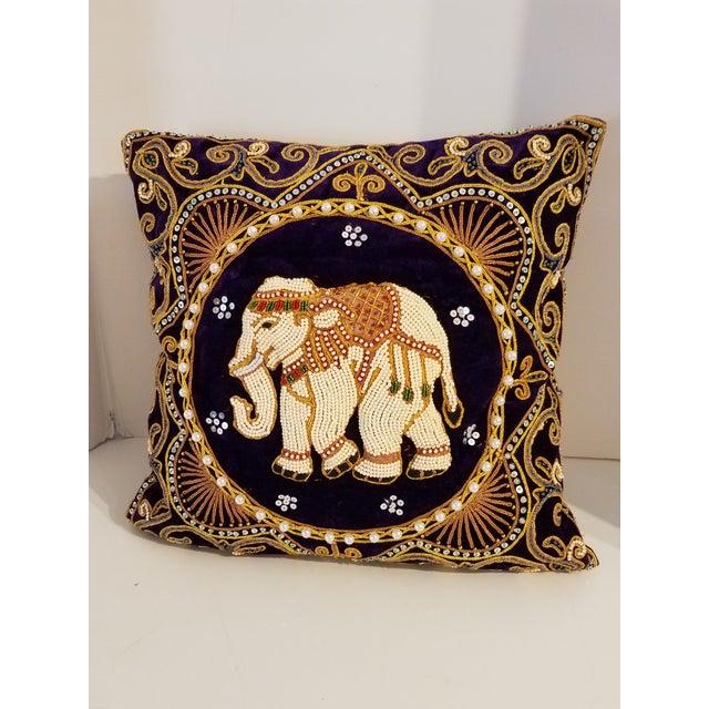 Brentwood Original Custom Beaded Elephant Accent Pillow Chairish