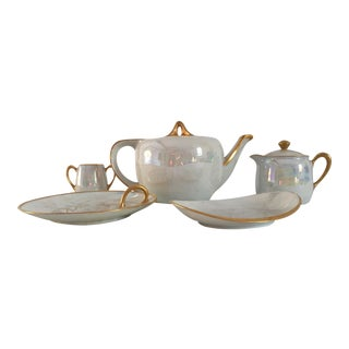 Luster Porcelain Gilded Rim Serving Set