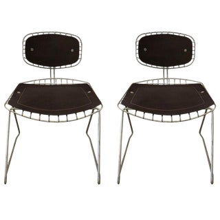 Pair of Beauborg Wire and Leather Stacking Chairs For Sale