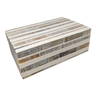 Organic Modern Resin and Shell Decorative Wooden Covered Box For Sale