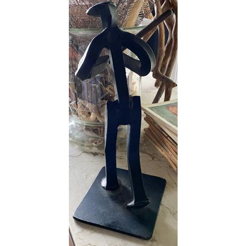 Iron Baseball Player Statue, Made From a Railroad Spike, Signed For Sale - Image 4 of 7