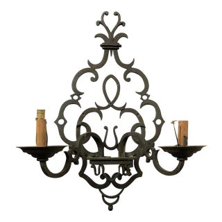 Pair Antique French Wrought Iron Chateau Lights, Circa 1820-1850.