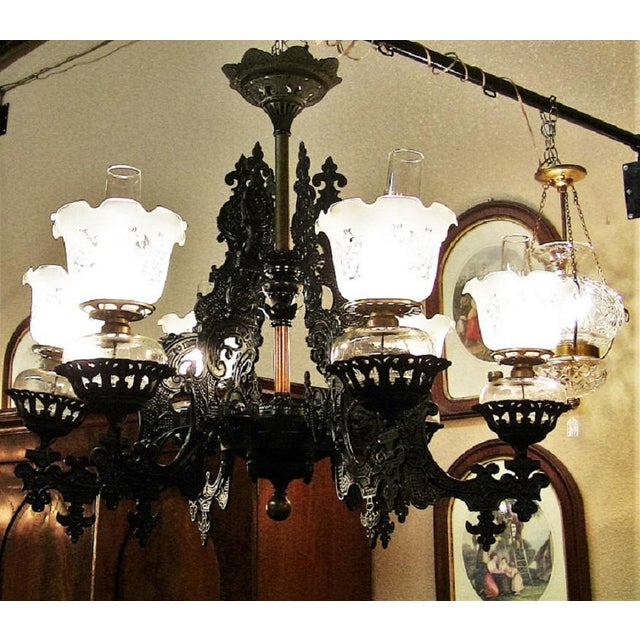 19c Bradley & Hubbard Cast Iron 6 Arm Chandelier For Sale - Image 9 of 13