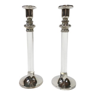 Tall Silver and Lucite Candlesticks, a Pair For Sale