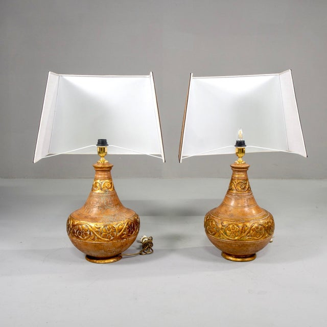 Mid-Century Italian Terra Cotta Lamps With Leopard Print Shades - a Pair For Sale - Image 4 of 9