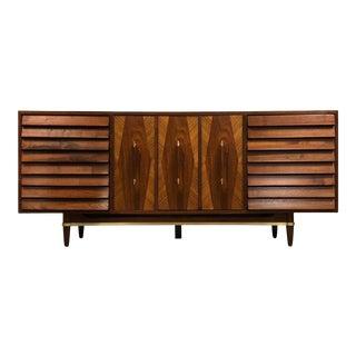 American of Martinsville Walnut and Brass Dresser Mid Century Merton Gershun For Sale