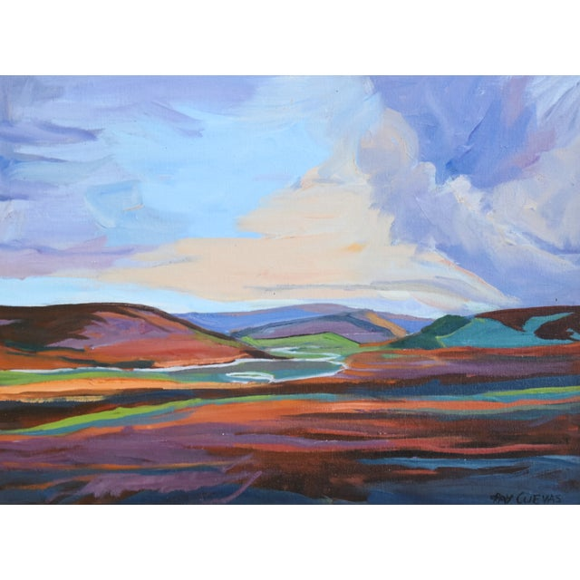 California abstract plein air landscape oil painting on artist canvas panel by Raymond Cuevas (b. 1932.) Cuevas studied at...