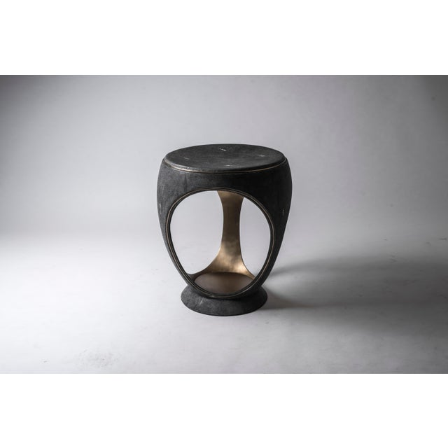 Ring Stool in Black Shagreen and Bronze-Patina Brass by R&y Augousti For Sale - Image 9 of 13