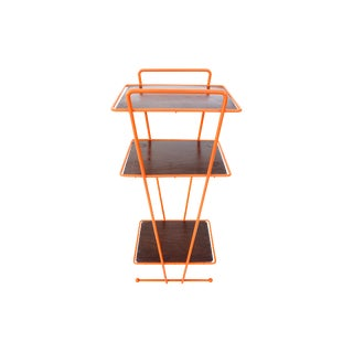 Mid-Century Modern Orange Metal & Wood Three Tier Versatile Stand